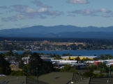 The holiday town of Taupo on the northern edge of Lake Taupo, in the center of the North Island