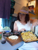 Before leaving Wellington on the ferry, a Kiwi ending his holiday gave us his extra food, including some tasty steaks and new potatoes. In Blenheim that evening, Dee prepared a great meal in the cozy confines of the campervan