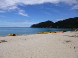 Having lunch on the beach at Bark Bay, Abel Tasman National Park
