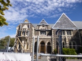 Most of the gothic revival buildings on the Art Centre campus, formerly Canterbury University, were damaged in the earthquakes. The gable walls on this building are being replaced with a synthetic stone that will significantly reduce the weight at the upper portions of the wall