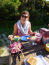 Our wholesome dinner at the DOC campsite in Goldsborough, just south of Greymouth on the West Coast of the South Island