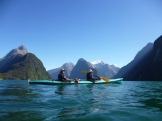 Dee and I on our one-day kayak trip to Milford Sound. We're still working on paddling in-sync!