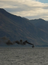 The steam-powered TSS Earnslaw chugs acros Lake Wakatipu from Queenstown