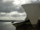 A good view of the harbour and the chevron roof tiles that Utzon designed to encase the concrete structure